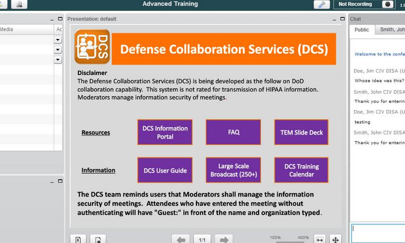 This screen shot shows the Defense Information Systems Agency's new online collaboration tool, which offers Defense Department employees anywhere in the world secure Web conferencing, as well as secure instant messaging and chat capabilities. DISA photo illustration   (Click photo for screen-resolution image)