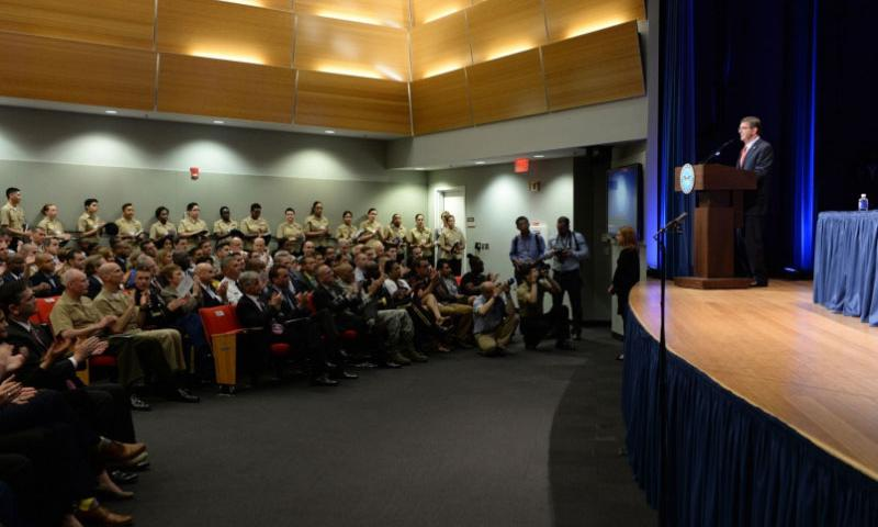 Defense Secretary Ash Carter participates in the LGBT Pride Month ceremony and gives the keynote address in the Pentagon Auditorium on Tuesday, June 9, 2015.    Clydell Kinchen/Defense Department