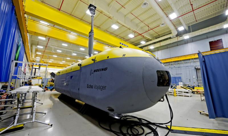 The 51-foot Boeing Echo Voyager is an unmanned undersea vehicle intended to roam the ocean for weeks or months. 	 Courtesy of Boeing