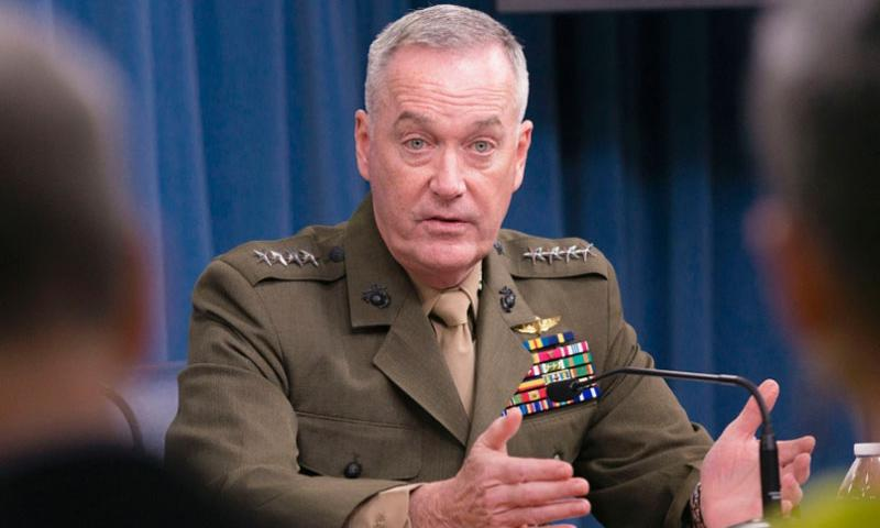 U.S. Marine Gen. Joseph F. Dunford Jr., chairman of the Joint Chiefs of Staff, answers questions during a press conference at the Pentagon, Mar. 25, 2016.   Sean K. Harp/U.S. Army