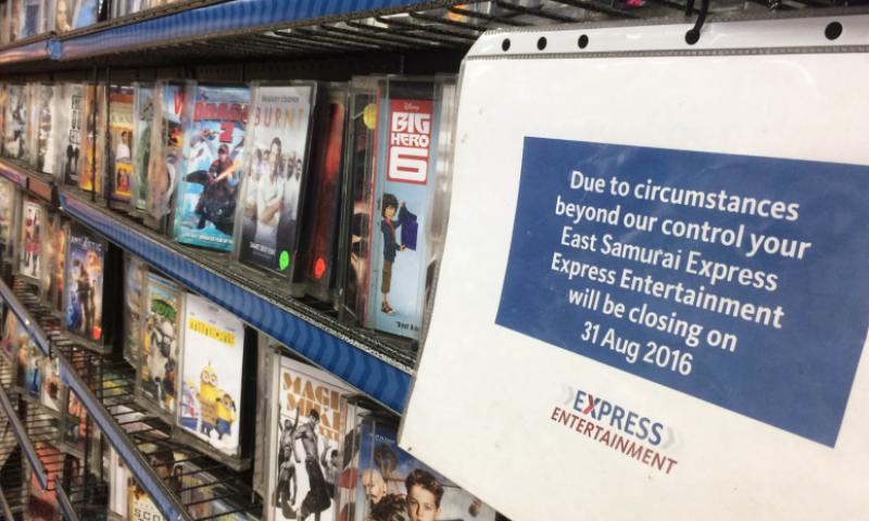 "Army and Air Force Exchange Service stores in Japan have posted notices informing customers that DVD rentals will end Aug. 31, 2016, due to ""circumstances beyond our control."" The growing popularity of online streaming video services such as Netflix and Hulu is sounding the death knell for DVD rentals at AAFES outlets overseas. Seth Robson/Stars and Stripes"