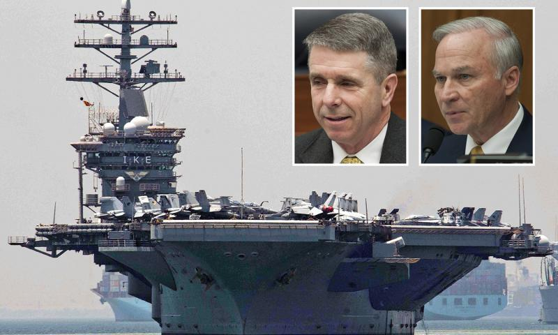 Rep. Rob Wittman, R-Va., left inset, and Rep. Randy Forbes, R-Va., are preparing to hold a Congressional hearing aboard the USS Dwight D. Eisenhower. DOD (ship), Stars and Stripes