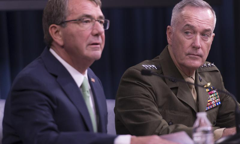 Secretary of Defense Ash Carter and U.S. Marine Gen. Joseph F. Dunford Jr., chairman of the Joint Chiefs of Staff, hold a press conference at the Pentagon, July 25, 2016. 	 Dominique A. Pineiro/Department of Defense