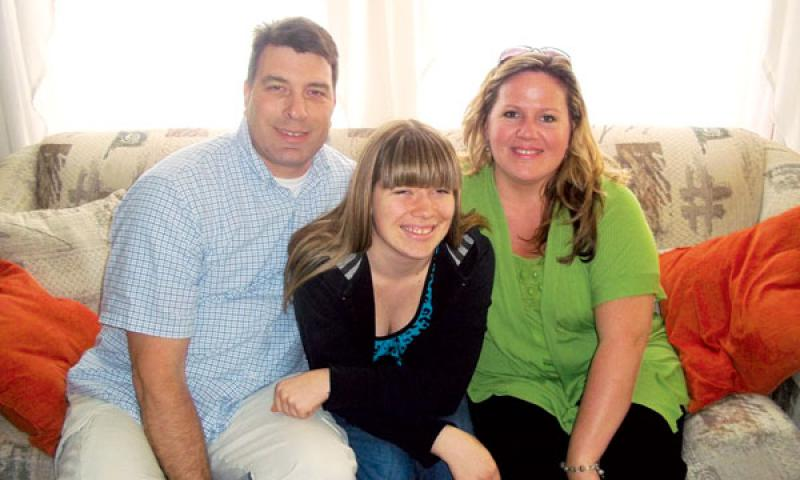 The Suchek family, from left, Steve, Cheyenne and Kim