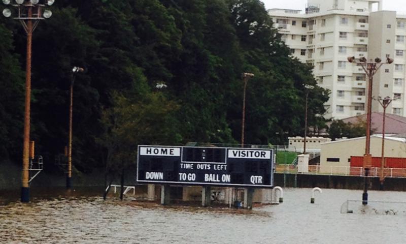 Flooding at Ikego Housing Area, near Yokosuka Naval Base Monday morning.