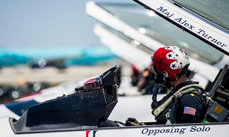 Maj. Alex Turner, Thunderbird 6, prepares to taxi before the Fort Lauderdale Airshow, May 8, 2016, at Fort Lauderdale, Fla.  Jason Couillard/U.S. Air Force Photo