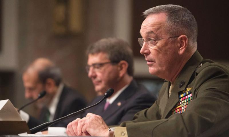 Chairman of the Joint Chiefs of Staff Gen. Joseph Dunford testifies before the Senate Armed Services Committee on the Department of Defense budget posture in review of the Defense Authorization Request for Fiscal Year 2017 and the Future Years Defense Program in Washington D.C., March 17, 2015.     Adrian Cadiz/Department of Defense