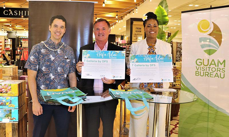 Nate Denight, GVB President & CEO, joins T Galleria by DFS Managing Director, Martin Matthews, and T Galleria by DFS General Manager, Renee Chisolm, at a special Mes Chamoru Håfa Adai Pledge renewal ceremony on March 12, 2018.