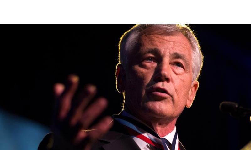 Defense Secretary Chuck Hagel delivers remarks at the Intrepid Sea, Air & Space Museum in New York City May 22, 2014, after receiving the 2014 Intrepid Freedom Award.  Aaron Hostutler/U.S. Marine Corps