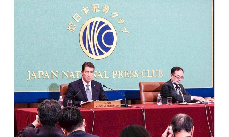 U.S. Ambassador to Japan William Hagerty speaks to reporters at the Japan National Press Club in Tokyo, Friday, Nov. 17, 2017. TYLER HLAVAC/STARS AND STRIPES