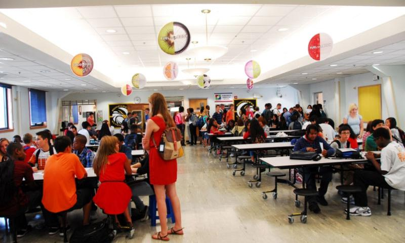 Students at Humphreys High School wait to register for classes on the first day of the 2013-2014 school year in the cafeteria of the former Humphreys elementary school. Ashley Rowland/Stars and Stripes
