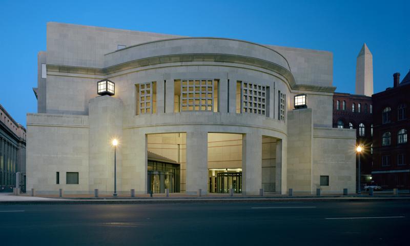 The 14th Street entrance to the U.S. Holocaust Memorial Museum in Washington, D.C. Timothy Hursley