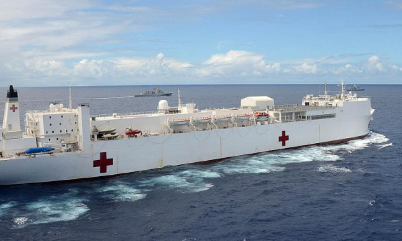 U.S. Navy hospital ship USNS Mercy steams in the Pacific Ocean during Rim of the Pacific Exercise 2014. The vessel will participate in the Navy's largest annual humanitarian aid and relief preparedness mission in Southeast Asia beginning May 11, 2016. SHANNON RENFROE/U.S. NAVY