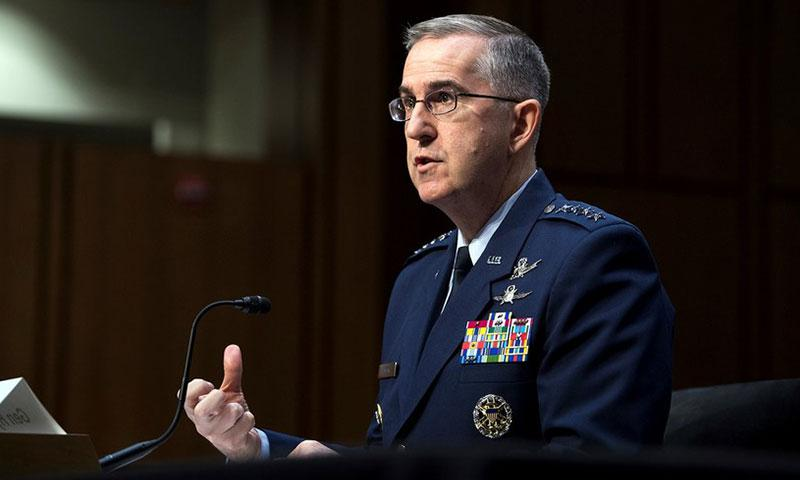 Air Force Gen. John E. Hyten, commander of U.S. Strategic Command, testifies for the Senate Armed Services Committee in Washington, March 20, 2018. DoD photo by EJ Hersom