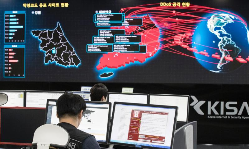 Employees watch electronic boards to monitor possible ransomware cyberattacks at the Korea Internet and Security Agency in Seoul, South Korea, on Monday, May 15, 2017. YUN DONG-JIN/YONHAP VIA AP