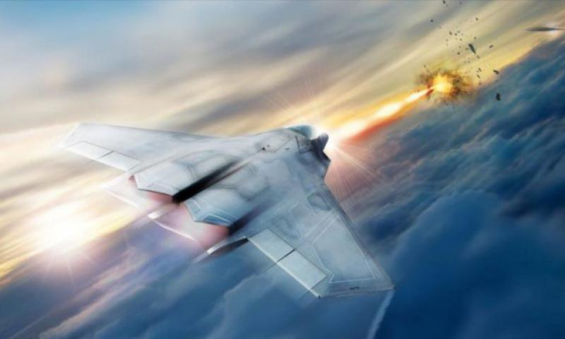 Lockheed Martin is helping the Air Force Research Lab develop and high energy laser weapon systems for aircraft, including the laser pictured in this rendering. AIR FORCE RESEARCH LAB/LOCKHEED MARTIN