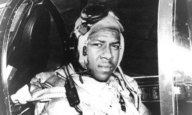 Ensign Jesse L. Brown, USN In the cockpit of an F4U-4 Corsair fighter, circa 1940. He was the first African-American Naval Aviator to see combat. Brown was shot down over North Korea. National Archives
