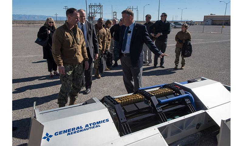 Chief of Naval Operations Adm. John Richardson inspects new technologies being developed and tested at the High Energy Laser Systems Test Facility and USS Desert Ship, a land-based launch facility designed to simulate a ship at sea, at White Sands Missile Range, N.M., Jan. 25, 2017. HELSTF operates the nation´s most powerful laser in support of Defense Department laser research, development, testing and evaluation efforts. Navy photo by Chief Petty Officer Elliott Fabrizio