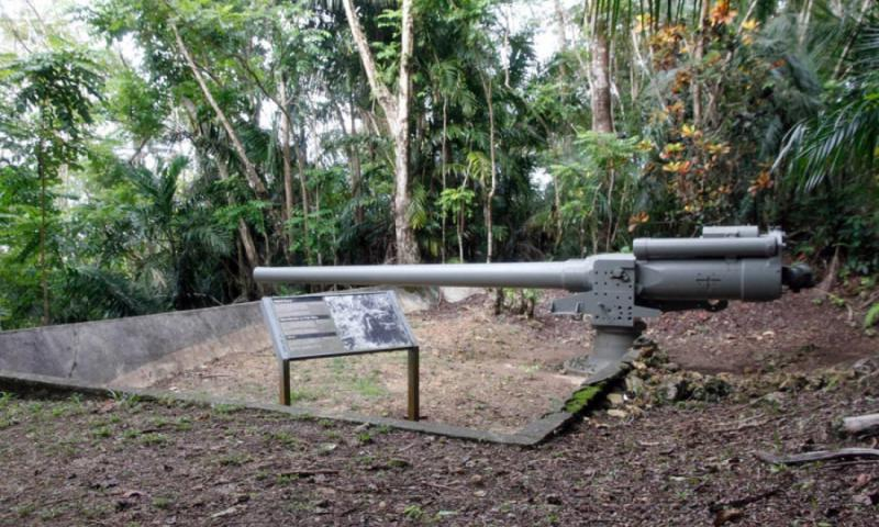 A Japanese canon stands on a Guam mountainside and is now part of a National Park Service display of World War II artifacts. Local Guam residents were forced to help build this and other defense emplacements in advance of the anticipated invasion by American forces in 1944. WYATT OLSON/STARS AND STRIPES