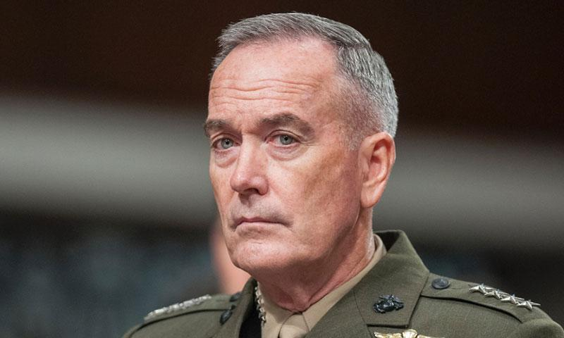 """Chairman of the Joint Chiefs of Staff Gen. Joseph Dunford attends a Senate hearing on June 13, 2017. According to reports on Thursday, July 27, Dunford said in a memo to military leaders that """"there will be no modifications"""" to current transgender policy for now, amid recent announcements on the subject by President Donald Trump. CARLOS BONGIOANNI/STARS AND STRIPES"""