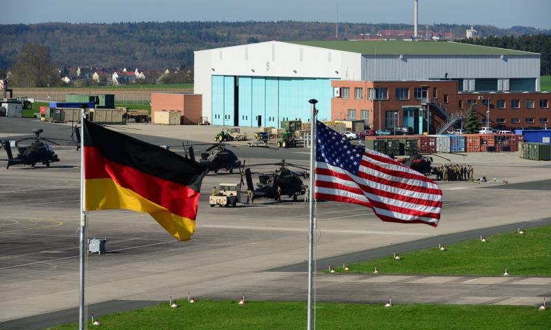 U.S. and German flags fly outside 12th Combat Aviation Brigade Headquarters overlooking Katterbach Army Airfield in Ansbach, Germany, in April 2016. Americans were not among those injured when an asylum-seeker blew himself up after being denied entry to a music festival in Ansbach late Sunday, July 23, 2016, U.S. Army officials said. 	 Charles Rosemond/U.S. Army