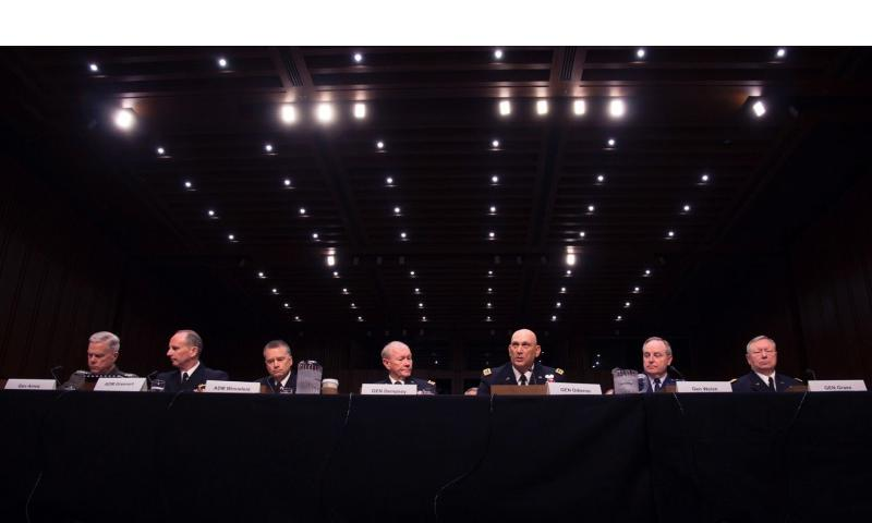 The Joint Chiefs of Staff testify before the Senate Armed Services Committee on May 6, 2014 in Washington, D.C., making the case that cuts to pay and benefits are necessary to maintain military readiness.  Rick Vasquez/Stars and Stripes