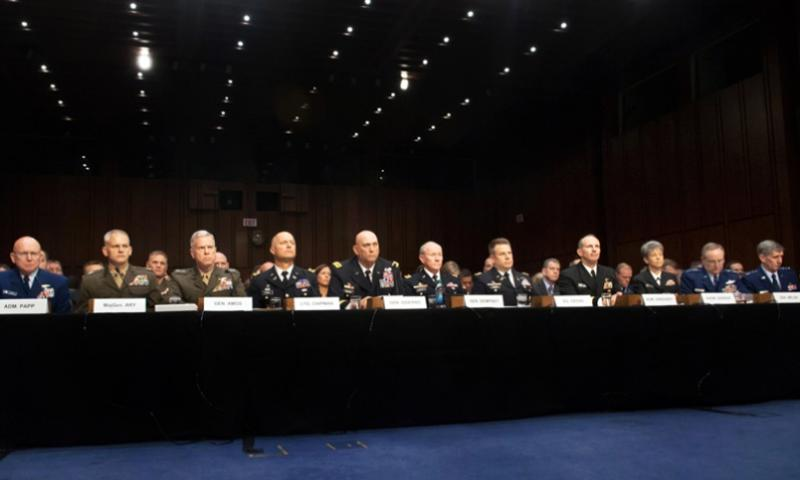 The Joint Chiefs of Staff and other military leaders testify on sexual assault in the military before the Senate Armed Services Committee in Washington, D.C., June 4, 2013.  Teddy Wade/U.S. Army