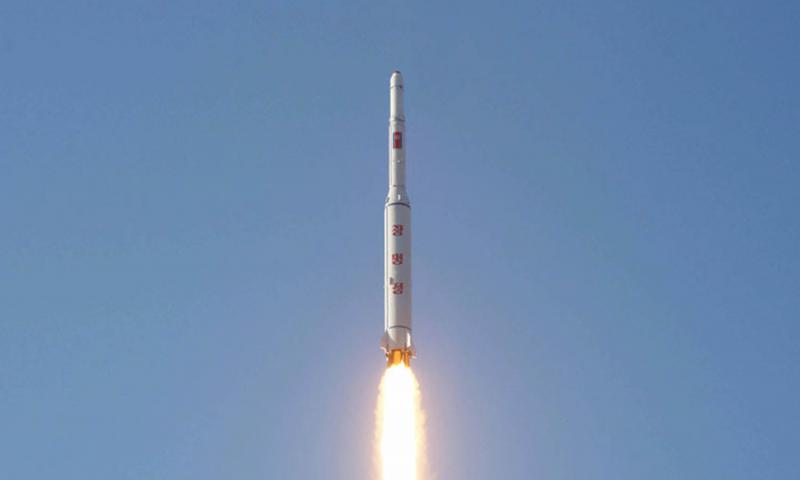 This photo from the Korean Central News Agency purports to show the launch of a long-range ballistic missile from North Korea's Sohae satellite-launching station in February 2016. Courtesy of KCNA