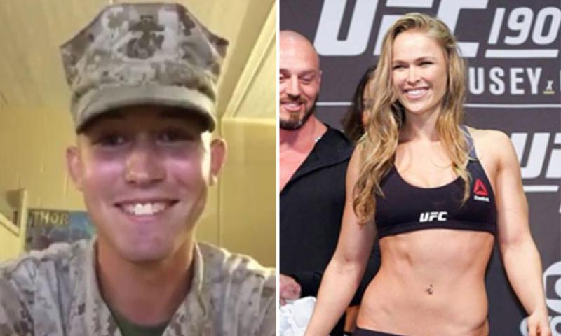 Jarrod Haschert and Ronda Rousey. Haschert, a 22-year-old Marine stationed at Camp Lejeune, asked the MMA star to be his date to the Marine Corps Ball via an online video that went viral. Rousey accepted.  Youtube, Facebook