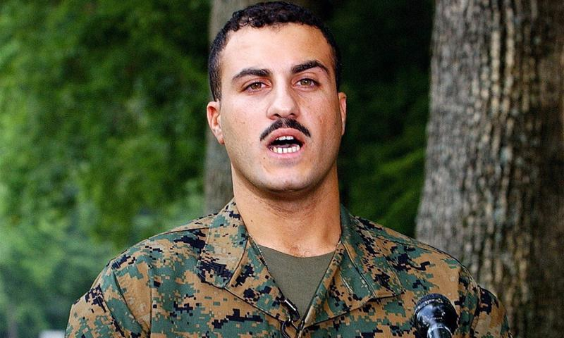 Wassef Ali Hassoun speaks at Quantico Marine Base, Virginia, on July 19, 2004. The Marine Corps charged Hassoun with desertion in September, 2014, but an Article 32 hearing report says prosecutors will have a difficult time proving the case. OLIVER DOULIERY/ABACA PRESS/KRT