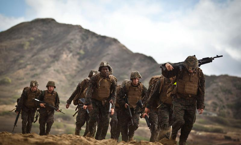 Marines hike along Fort Hase Beach in Hawaii on April 21, 2016  Aaron S. Patterson/U.S. Marine Corps