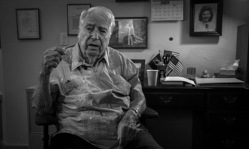 Peter B. Marshall, a World War II prisoner of war, shares his experience of spending 1,368 days behind enemy lines. Marshall is the last World War II POW, captured from Guam, still alive. (U.S. Marine Corps photo taken by Lance Cpl. Christian Cachola)