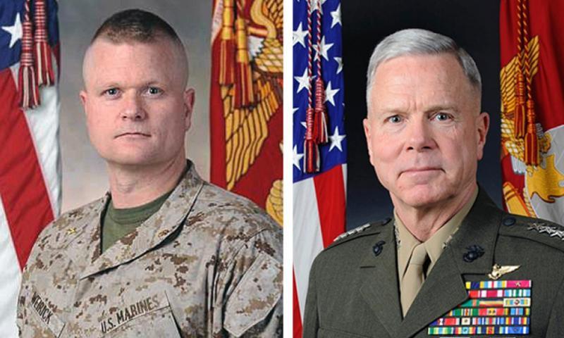 Maj. James Weirick, left, and Marine Corps Commandant Gen. James Amos. U.S. MARINE CORPS