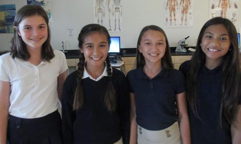 McCool Elementary/Middle School team CR32PRO2 earned first place in the sixth-grade category for the U.S. Territory of Guam (left to right: Helen Quast, Michala Connelley, Aura Griffith and Heaven Reyes).