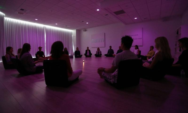 Participants meditate during a class in Los Angeles.  Katie Falkenberg/Los Angeles Times/TNS