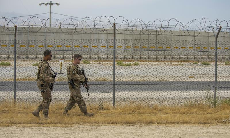 Airmen patrol the flightline perimeter, June 27, 2016, Bagram Airfield, Afghanistan. 	 Justyn M. Freeman/U.S. Air Force