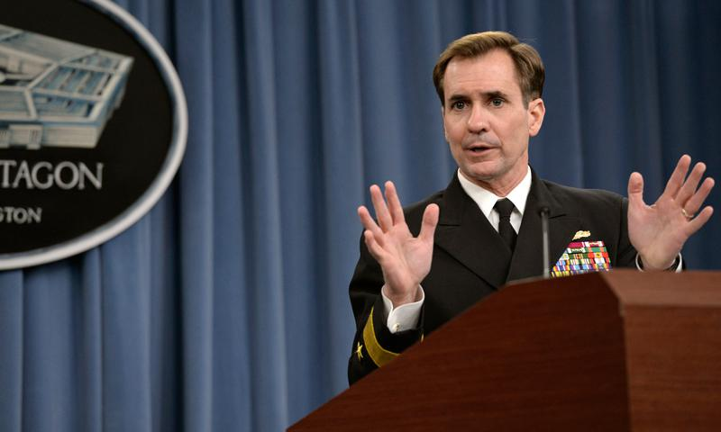 Pentagon Press Secretary Navy Rear Adm. John Kirby briefs reporters at the Pentagon, March 20, 2014, saying Defense Secretary Chuck Hagel ordered a comprehensive review of the military decorations and award program. Kirby also discussed a telephone call between Hagel and Russia's defense minister about the situation in Ukraine. DOD photo by Glenn Fawcett