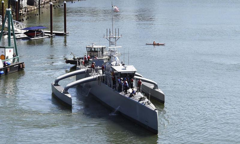 Sea Hunter, an entirely new class of unmanned ocean-going vessel gets underway on the Williammette River following a christening ceremony in Portland, Oregon on April 7, 2016. U.S. JOHN F. WILLIAMS/U.S. NAVY