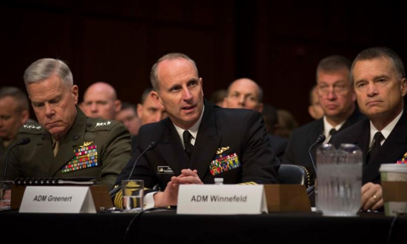 Chief of Naval Operations Adm. Jonathan Greenert testifies before the Senate Armed Services Committee with the Chairman and Vice Chairman of the Joint Chiefs of Staff and the Joint Chiefs of Staff on Department of Defense proposals relating to military compensation. PETER D. LAWLOR/U.S. NAVY