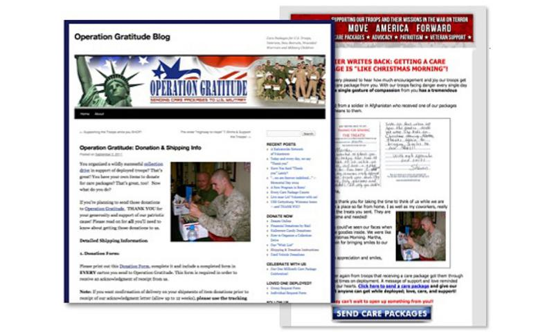 Left, an image of a soldier with a care package from Operation Gratitude originally posted on the Operation Gratitude website; right, the same image, used in an email sent by Move America Forward soliciting donations. COURTESY OF PROPUBLICA