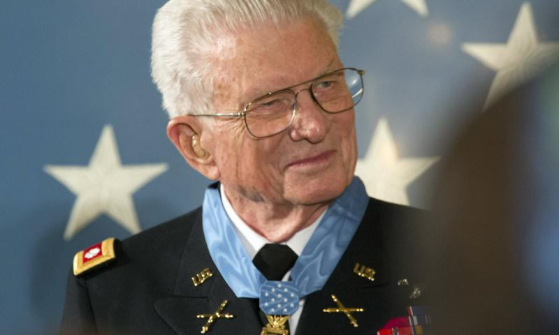 Retired Lt. Col. Charles Kettles, 86, is awarded the Medal of Honor at the White House on July 18, 2016. Kettles was a Huey helicopter pilot who rescued more than 40 soldiers who were ambushed in Vietnam in 1967. C.J. Lin/Stars and Stripes
