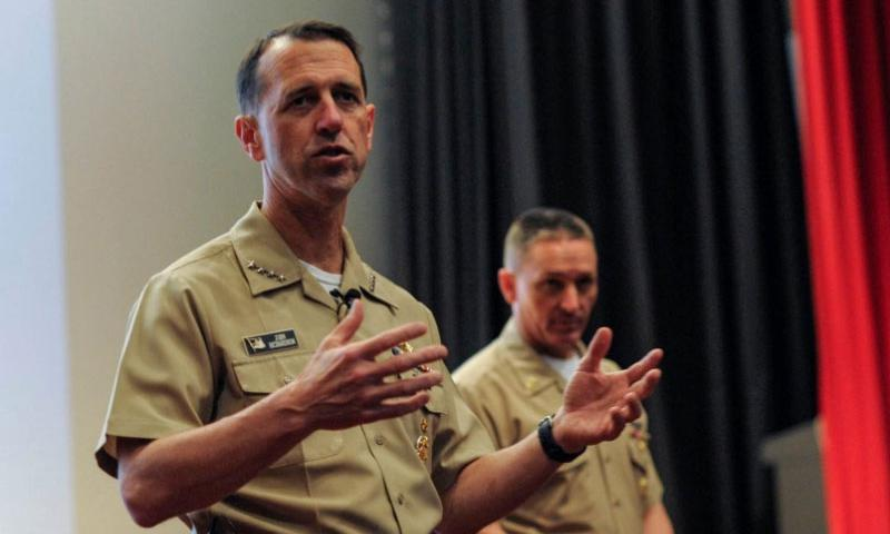 Sailors can expect to spend shorter times at sea and see more ships forward deployed to the Pacific, said Adm. John Richardson, the U.S. Navy's new chief of naval operations, during an all-hands briefing Thursday, Oct. 15, 2015, at Yokosuka Naval Base, Japan.  Marissa Valentine/U.S. Navy