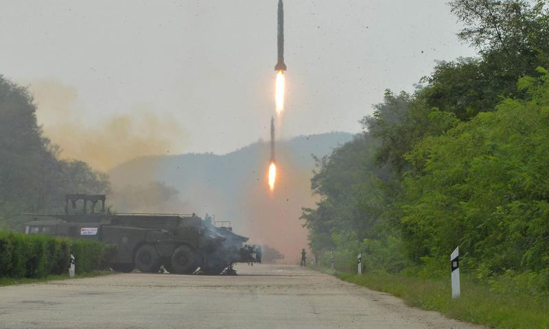 This undated photo distributed on Tuesday, Sept. 6, 2016, by the North Korean government, shows ballistic missiles launched during a drill at an undisclosed location in North Korea. Korean Central News Agency/Korea News Service via AP