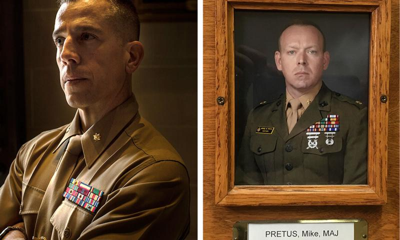 Marine Maj. Mark Thompson, left, was convicted of having sex with two female midshipmen while he taught at the U.S. Naval Academy. His friend, Marine Maj. Michael Pretus, right, is now being removed from his academy teaching position. LEFT: NIKKI KAHN/THE WASHINGTON POST RIGHT: THE WASHINGTON POST