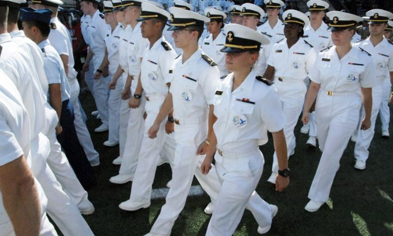 U.S. Naval Academy midshipmen march into Navy-Marine Corps Memorial Stadium in Annapolis, Md., before a football game in 2013.  Joe Gromelski/Stars and Stripes