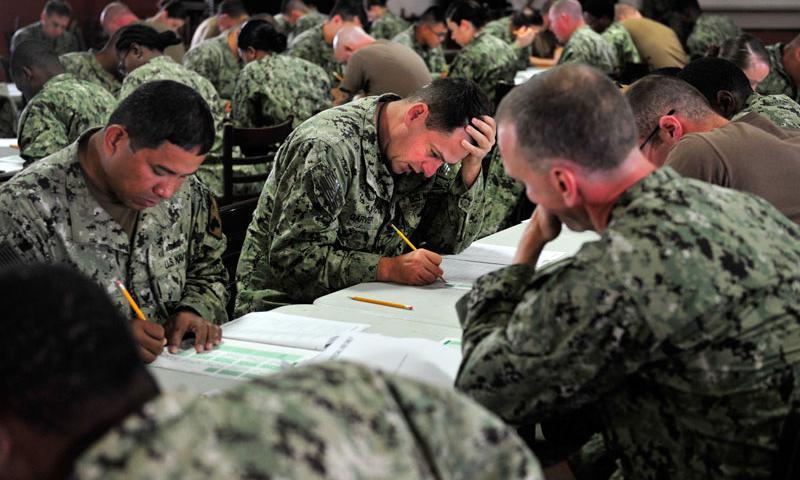 CAMP LEMONNIER, Djibouti (April 16, 2015) Sailors deployed to Camp Lemonnier, Djibouti, take the Navy-wide E-4, E-5, and E-6 advancement exam. (U.S. Navy photo by Mass Communication Specialist 1st Class Julia A. Casper)
