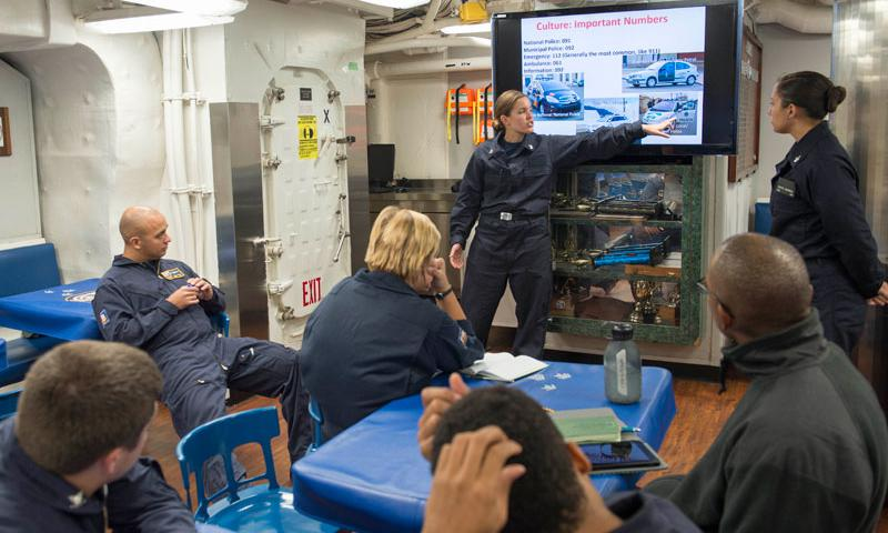ATLANTIC OCEAN (Sept. 14, 2015) Cryptologic Technician (Interpretive) 2nd Class Alicia Berninger, left, from Colorado Springs, Colo., and Cryptologic Technician (Interpretive) 2nd Class Krystal Dearborn, from Virginia Beach, Va., both assigned to Navy Information Operations Command (NIOC) Texas, facilitate cultural relations and Spanish language training to introduce the culture of Spain to the crew of the guided-missile destroyer USS Carney (DDG 64).
