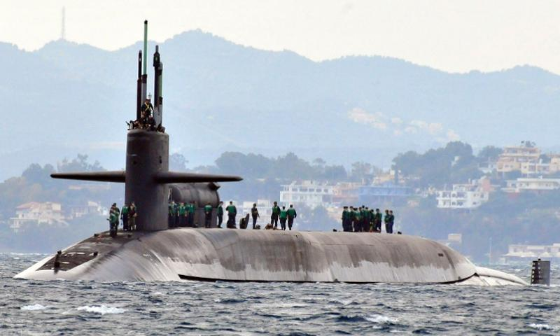 The Ohio-class guided-missile submarine USS Florida arrives for a routine port visit to the island of Crete. Florida is homeported at Naval Submarine Base, Kings Bay, Ga. D. L. FARLEY/U.S. NAVY