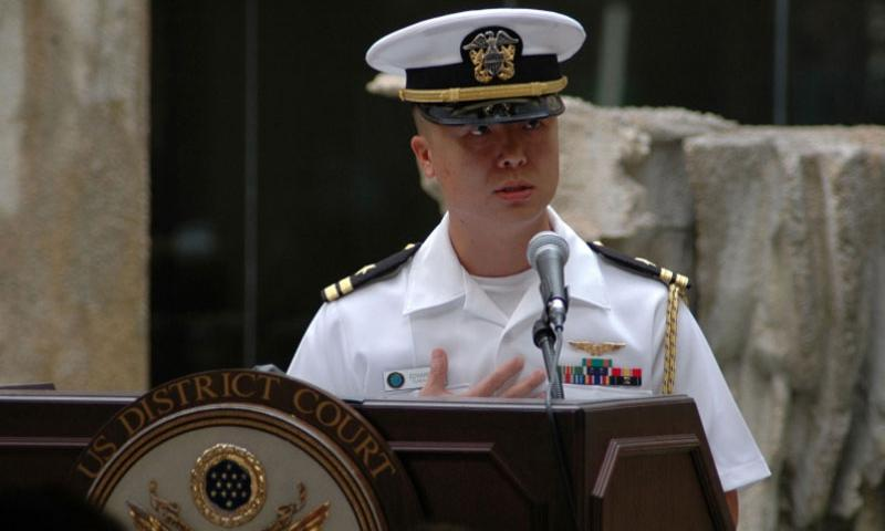 Then-Lt. Edward Lin, a native of Taiwan, discusses his journey to American citizenship at a naturalization ceremony in 2008.  Sarah Murphy/U.S. Navy photo