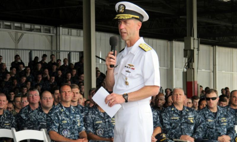 Navy Adm. John Richardson speaks to sailors in Pearl Harbor, Hawaii on Tuesday, Oct. 13, 2015. The Navy's top officer said the service is considering extending paternity leave for new fathers.    Audrey McAvoy/AP